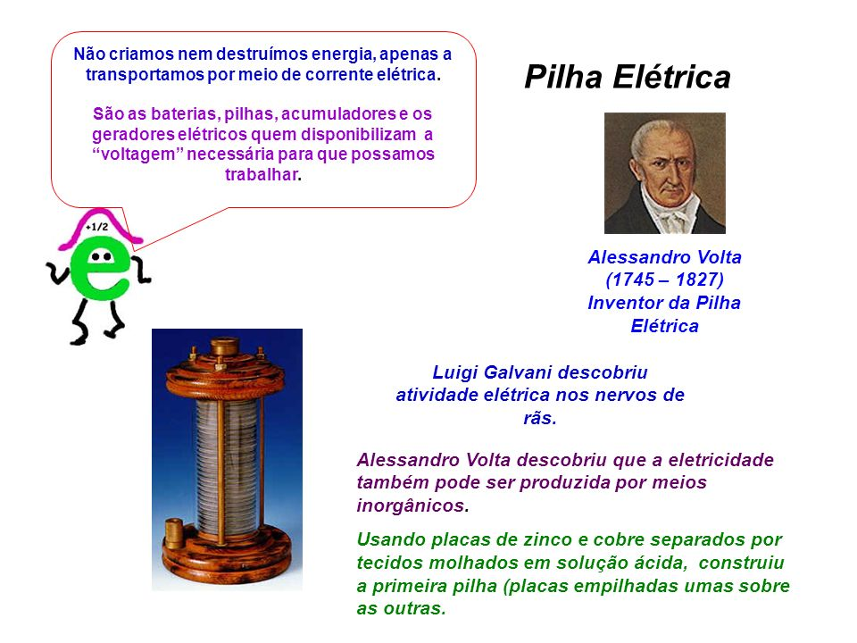 Pilha Elétrica Alessandro Volta (1745 – 1827)