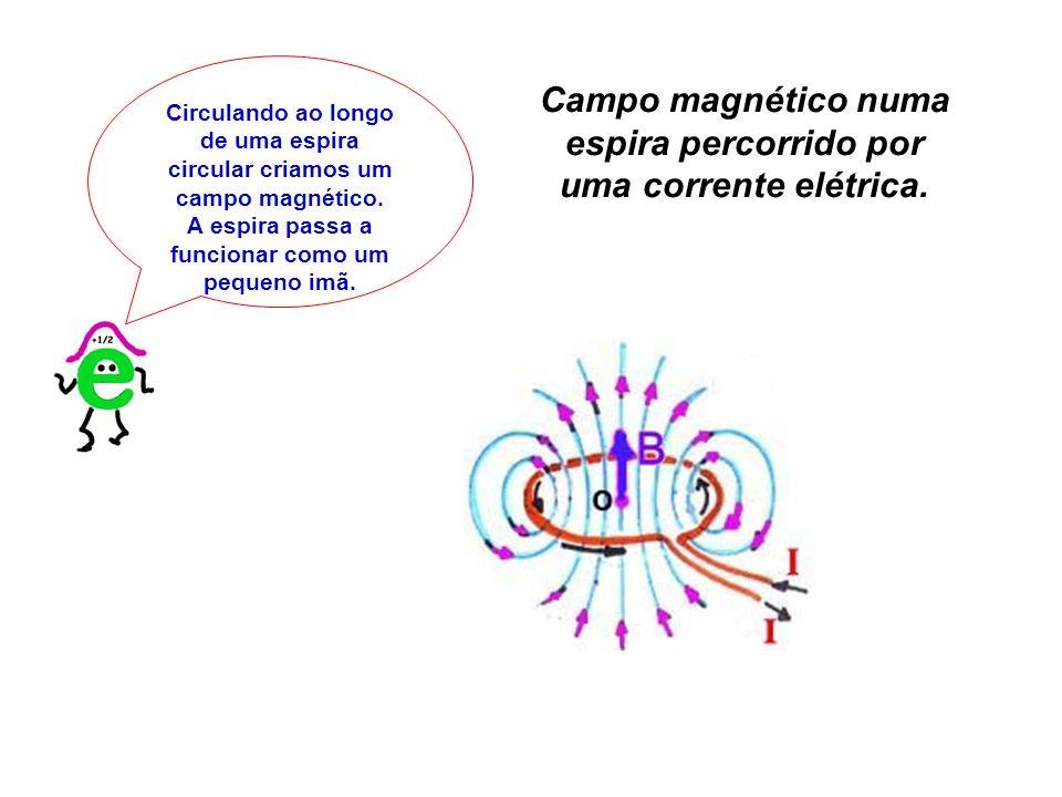 Campo magnético numa espira percorrido por uma corrente elétrica.