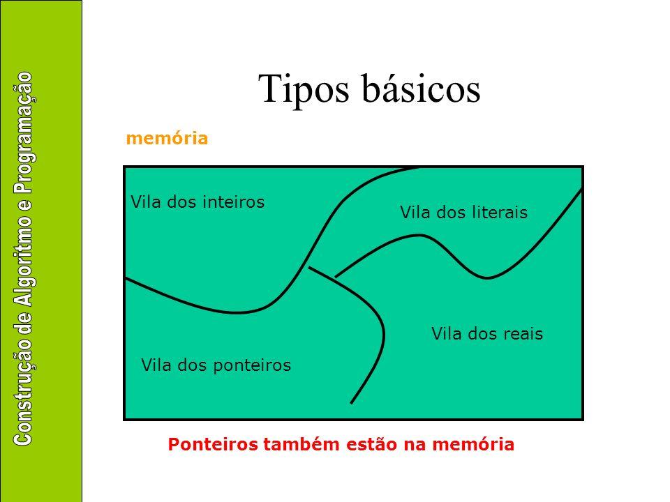 Tipos básicos memória Vila dos inteiros Vila dos literais