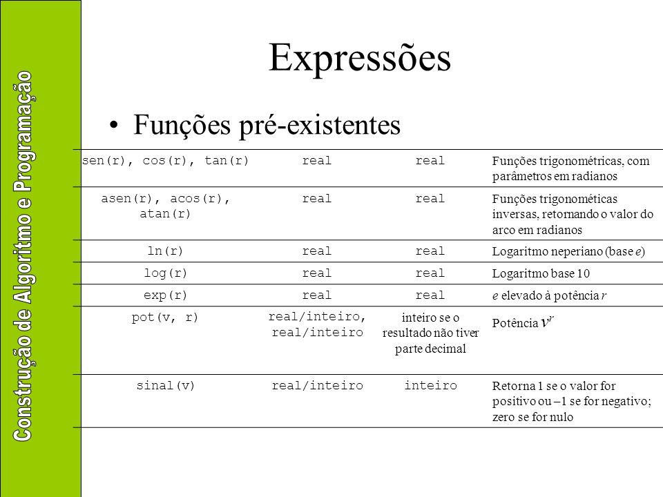 Expressões Funções pré-existentes sen(r), cos(r), tan(r) real