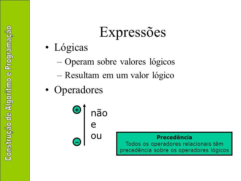 Expressões Lógicas Operadores Operam sobre valores lógicos