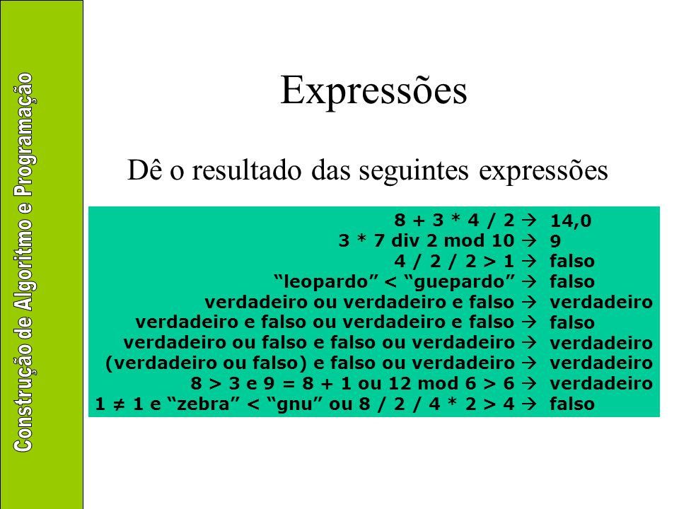 Expressões Dê o resultado das seguintes expressões 8 + 3 * 4 / 2 