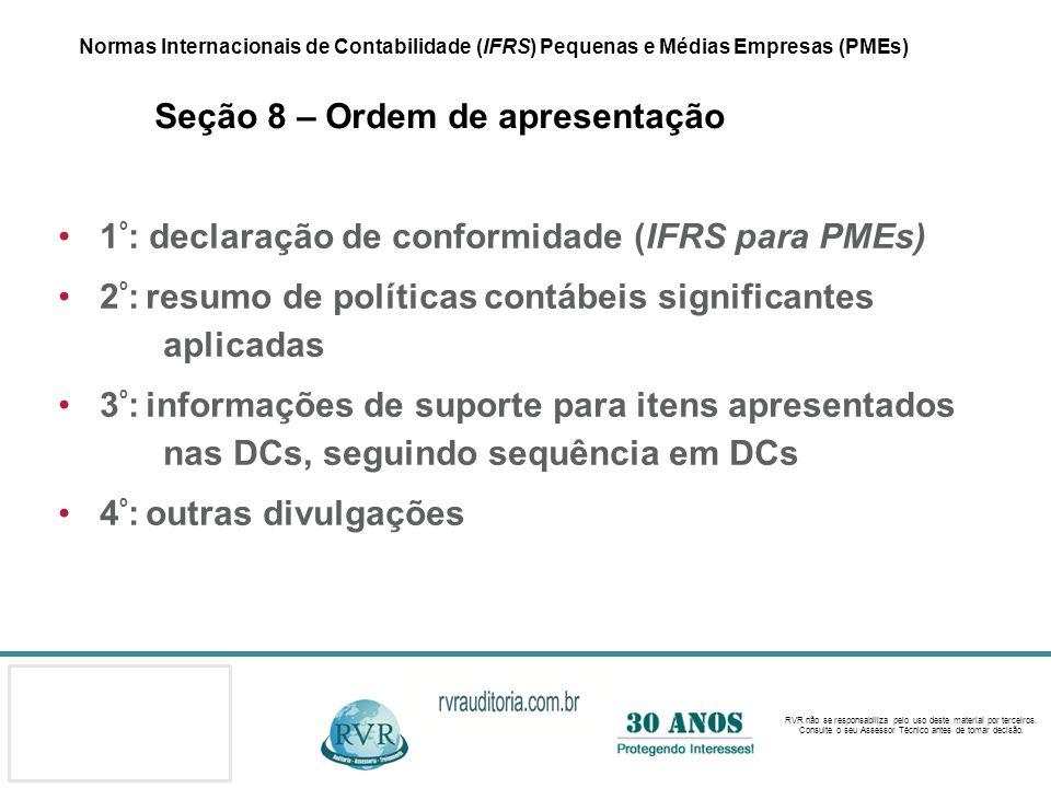 1º: declaração de conformidade (IFRS para PMEs)