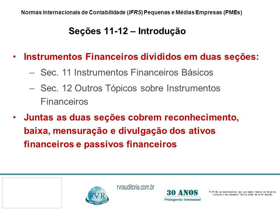 Instrumentos Financeiros divididos em duas seções:
