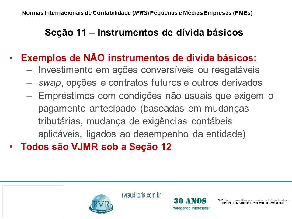 Exemplos de NÃO instrumentos de dívida básicos: