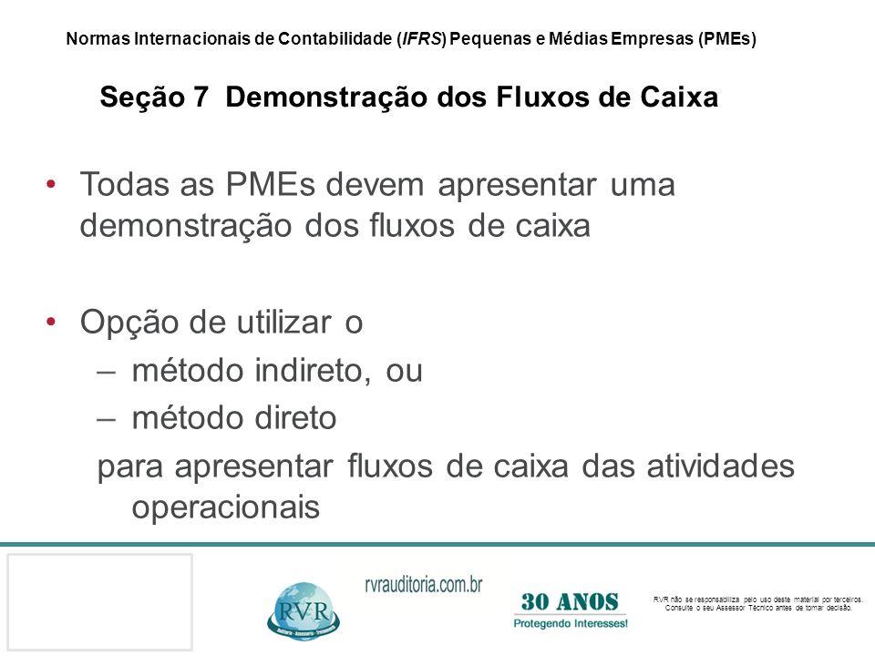 Todas as PMEs devem apresentar uma demonstração dos fluxos de caixa