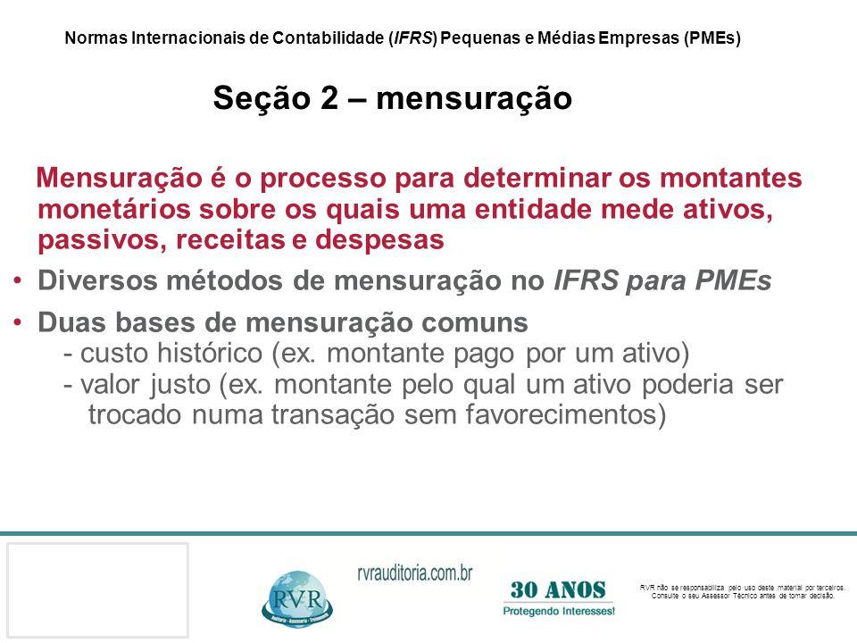 Diversos métodos de mensuração no IFRS para PMEs