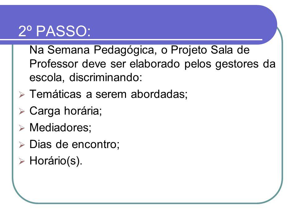 2º PASSO: Na Semana Pedagógica, o Projeto Sala de Professor deve ser elaborado pelos gestores da escola, discriminando: