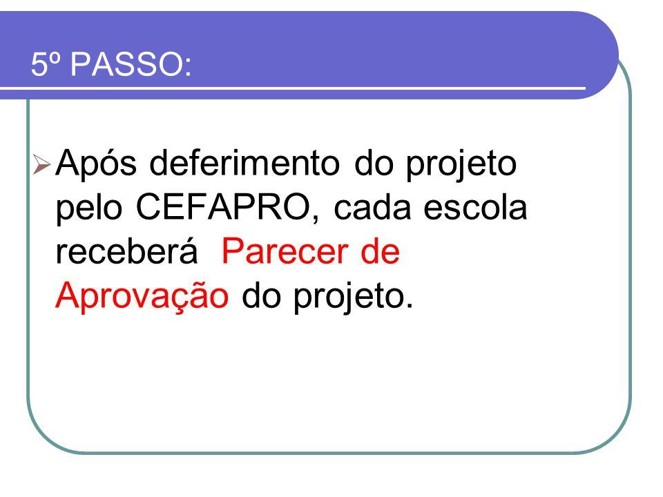 5º PASSO: Após deferimento do projeto pelo CEFAPRO, cada escola receberá Parecer de Aprovação do projeto.
