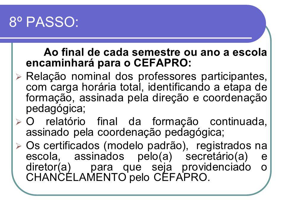 8º PASSO: Ao final de cada semestre ou ano a escola encaminhará para o CEFAPRO:
