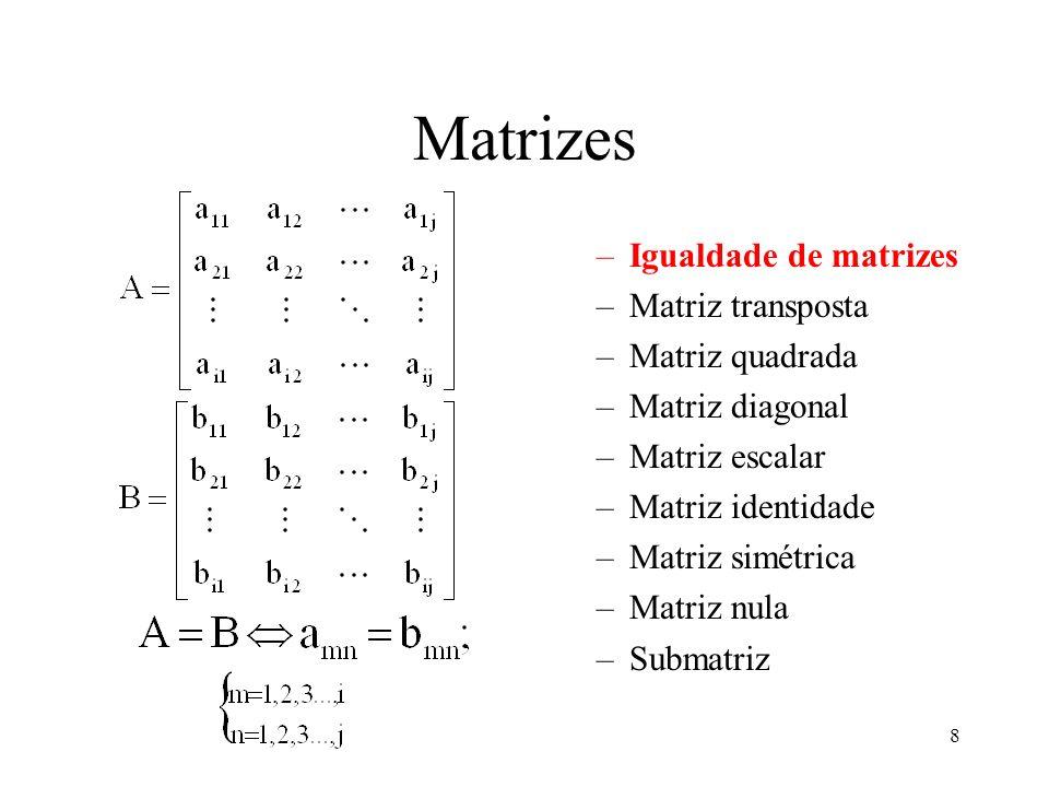 Matrizes Igualdade de matrizes Matriz transposta Matriz quadrada