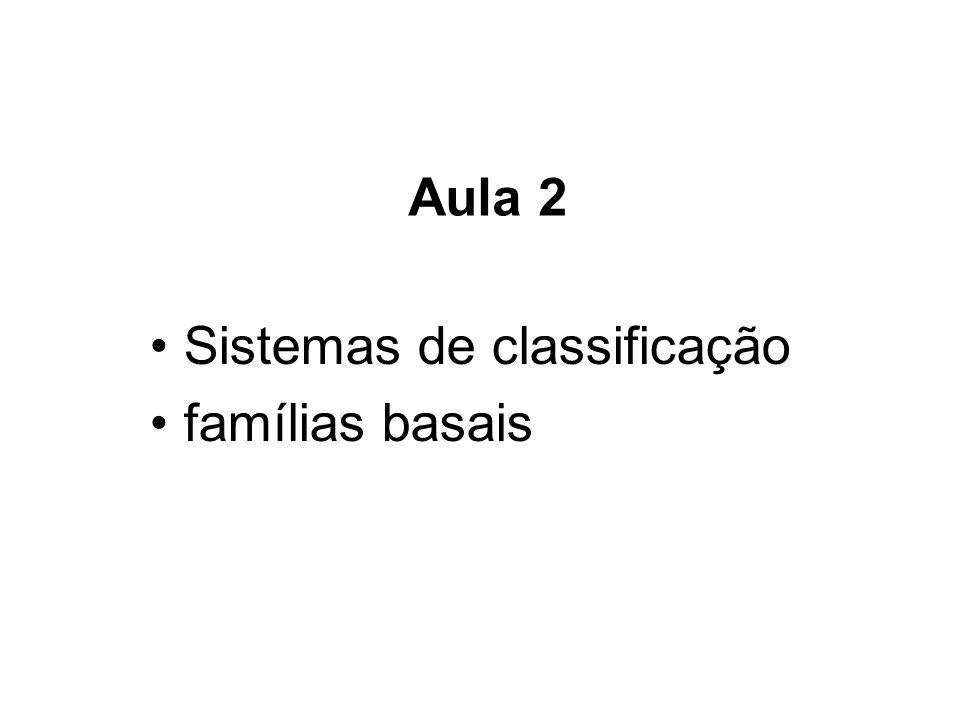 Sistemas de classificação famílias basais