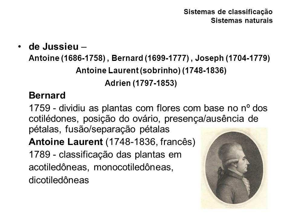 Sistemas de classificação Sistemas naturais