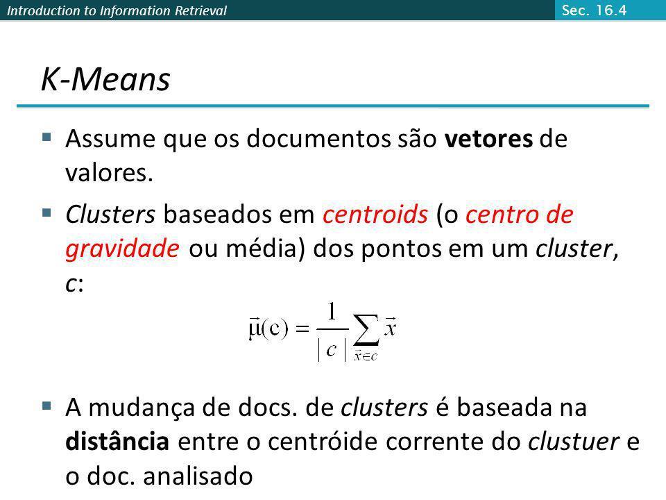 K-Means Assume que os documentos são vetores de valores.
