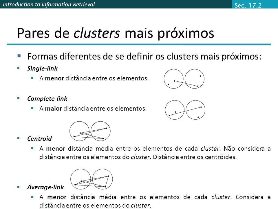 Pares de clusters mais próximos
