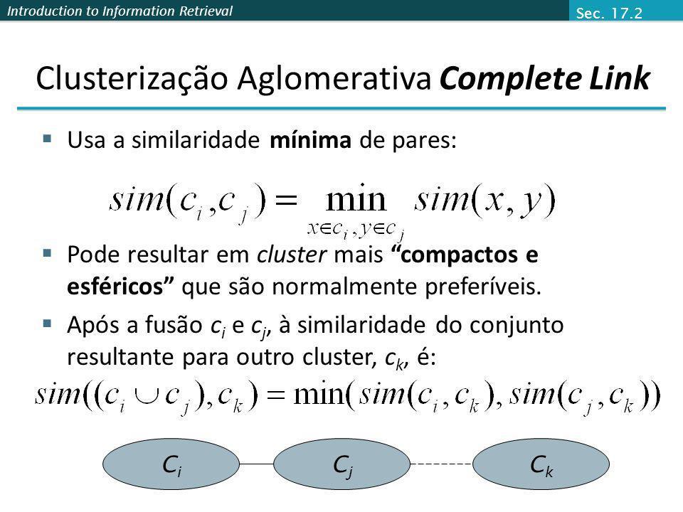 Clusterização Aglomerativa Complete Link