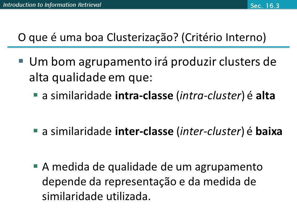 O que é uma boa Clusterização (Critério Interno)