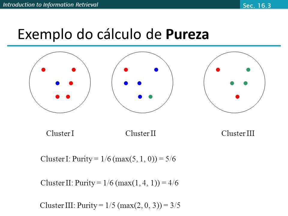 Exemplo do cálculo de Pureza