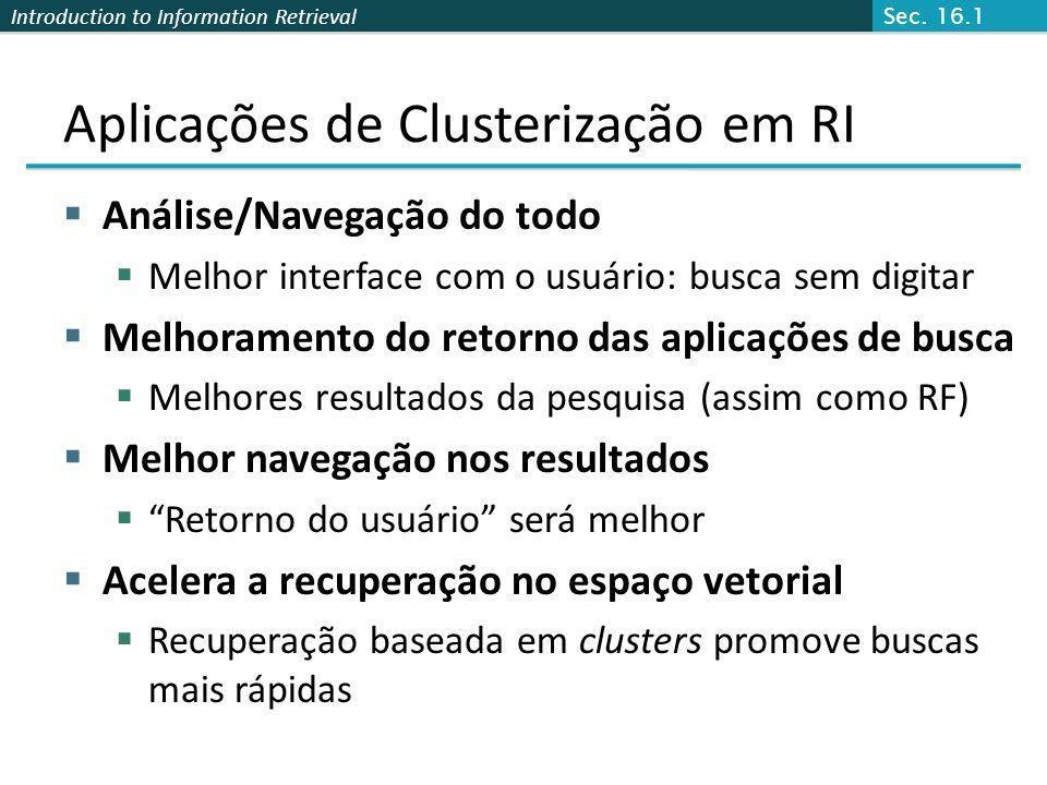 Aplicações de Clusterização em RI