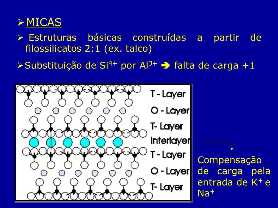 MICASEstruturas básicas construídas a partir de filossilicatos 2:1 (ex. talco) Substituição de Si4+ por Al3+  falta de carga +1.