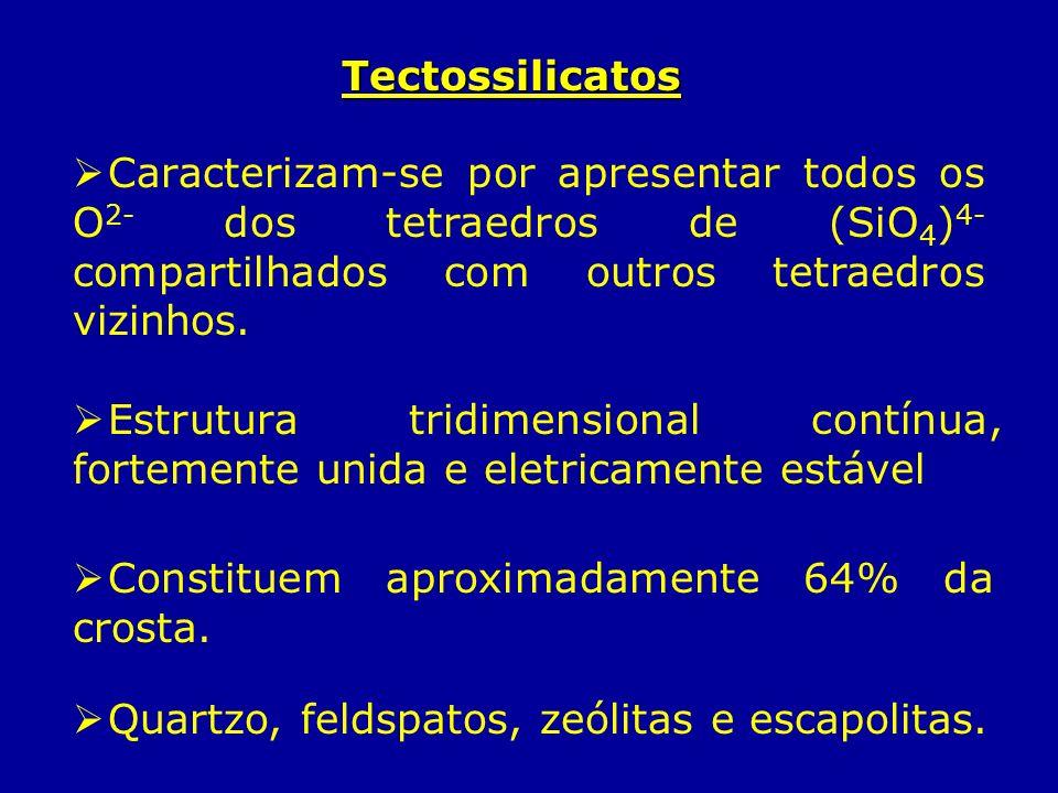 TectossilicatosCaracterizam-se por apresentar todos os O2- dos tetraedros de (SiO4)4- compartilhados com outros tetraedros vizinhos.