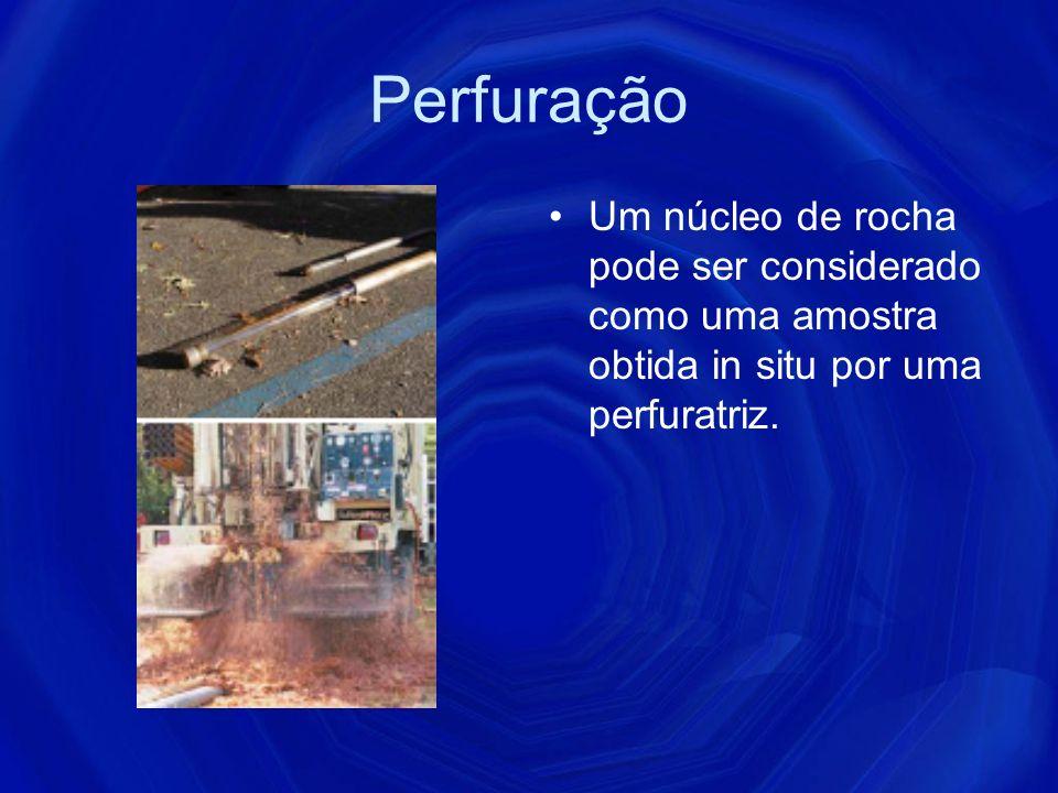 Perfuração Um núcleo de rocha pode ser considerado como uma amostra obtida in situ por uma perfuratriz.