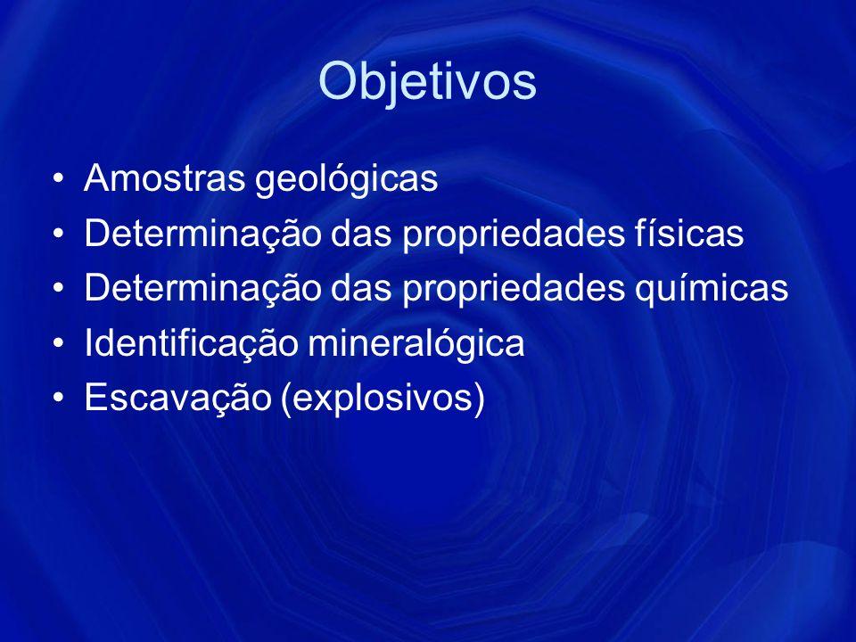 Objetivos Amostras geológicas Determinação das propriedades físicas