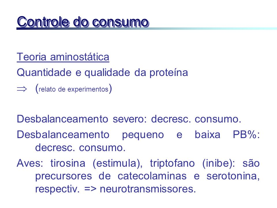 Controle do consumo Teoria aminostática