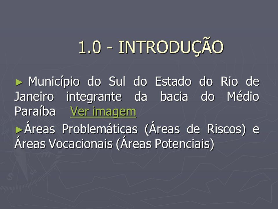1.0 - INTRODUÇÃO Município do Sul do Estado do Rio de Janeiro integrante da bacia do Médio Paraíba Ver imagem.