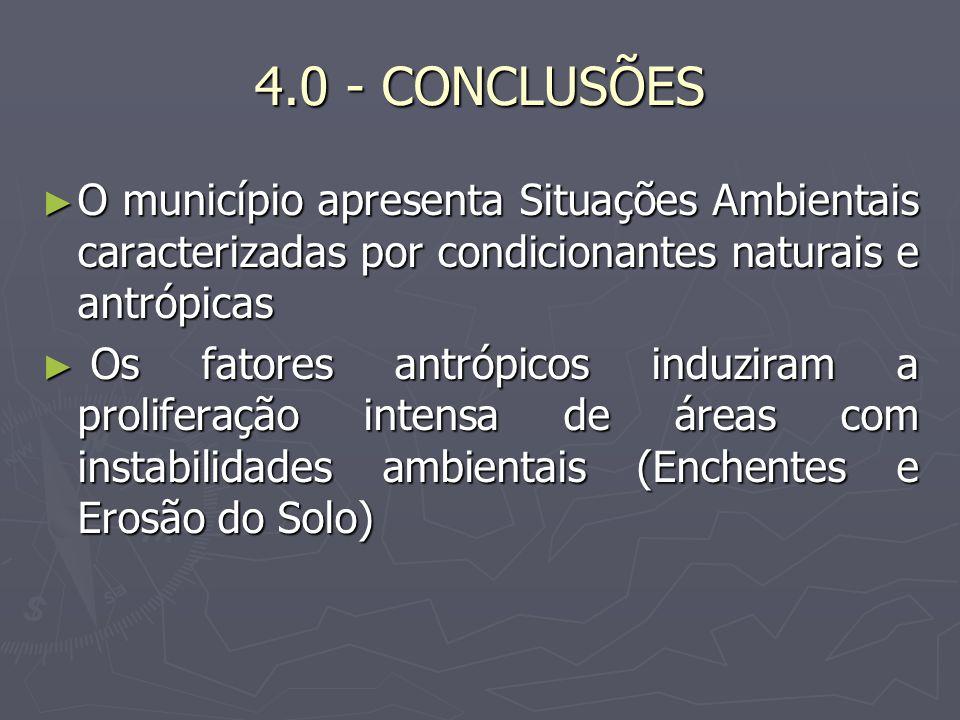 4.0 - CONCLUSÕES O município apresenta Situações Ambientais caracterizadas por condicionantes naturais e antrópicas.