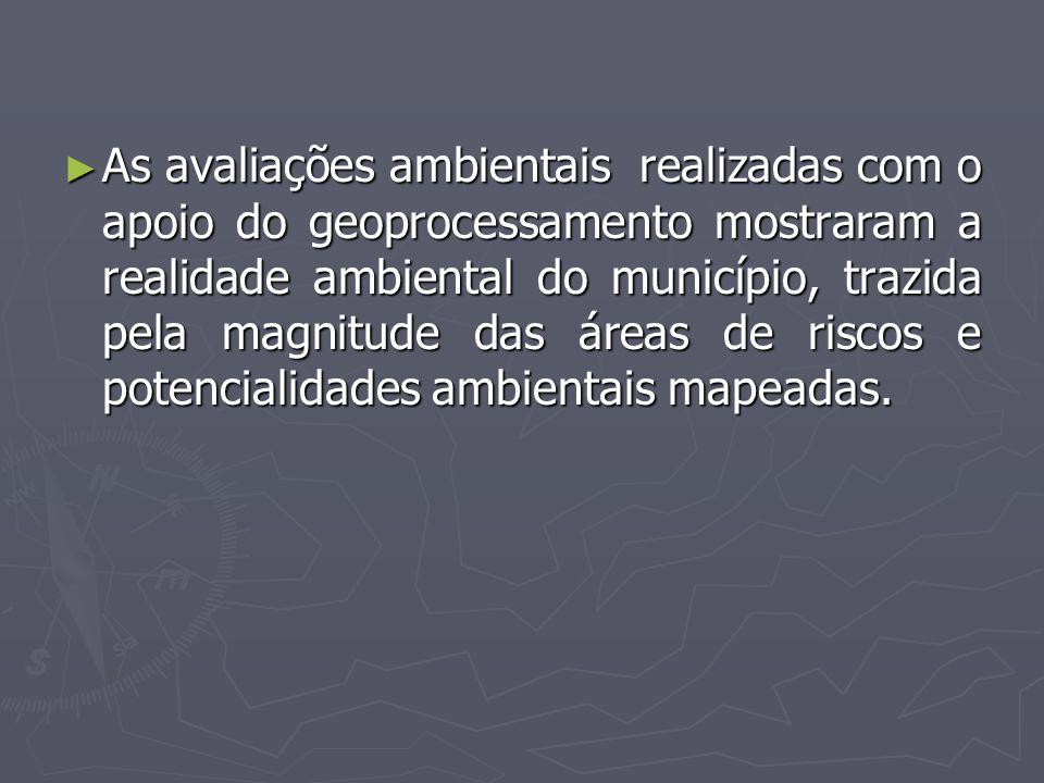 As avaliações ambientais realizadas com o apoio do geoprocessamento mostraram a realidade ambiental do município, trazida pela magnitude das áreas de riscos e potencialidades ambientais mapeadas.