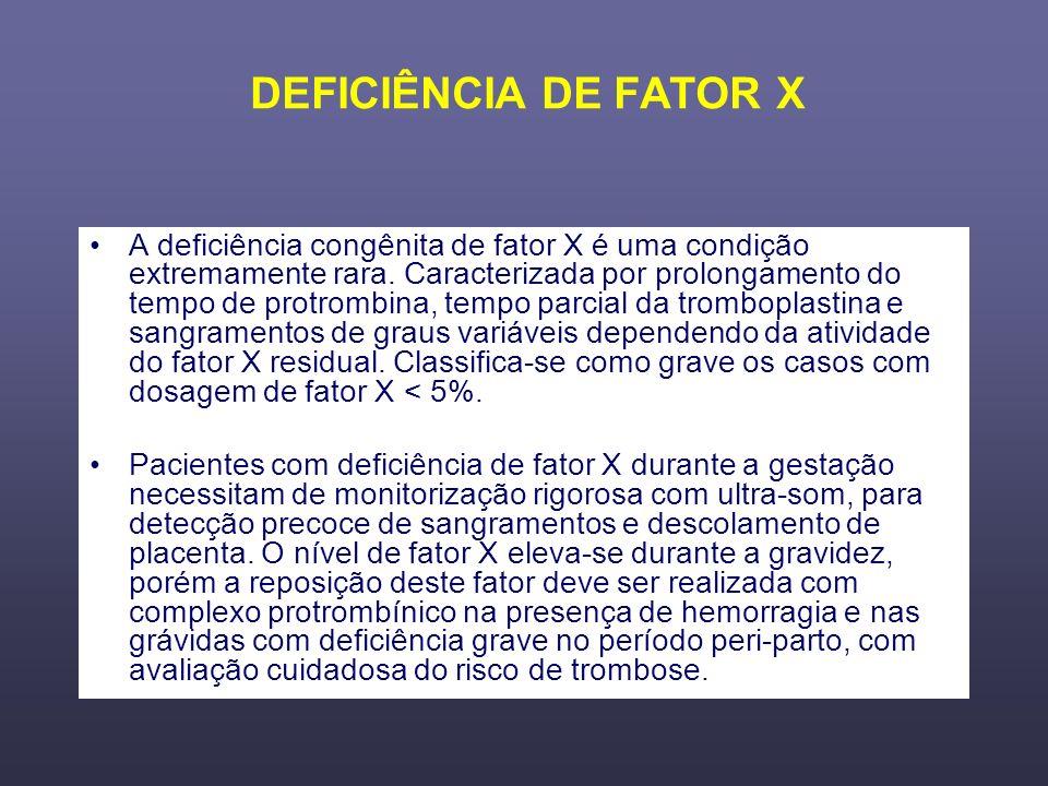 DEFICIÊNCIA DE FATOR X
