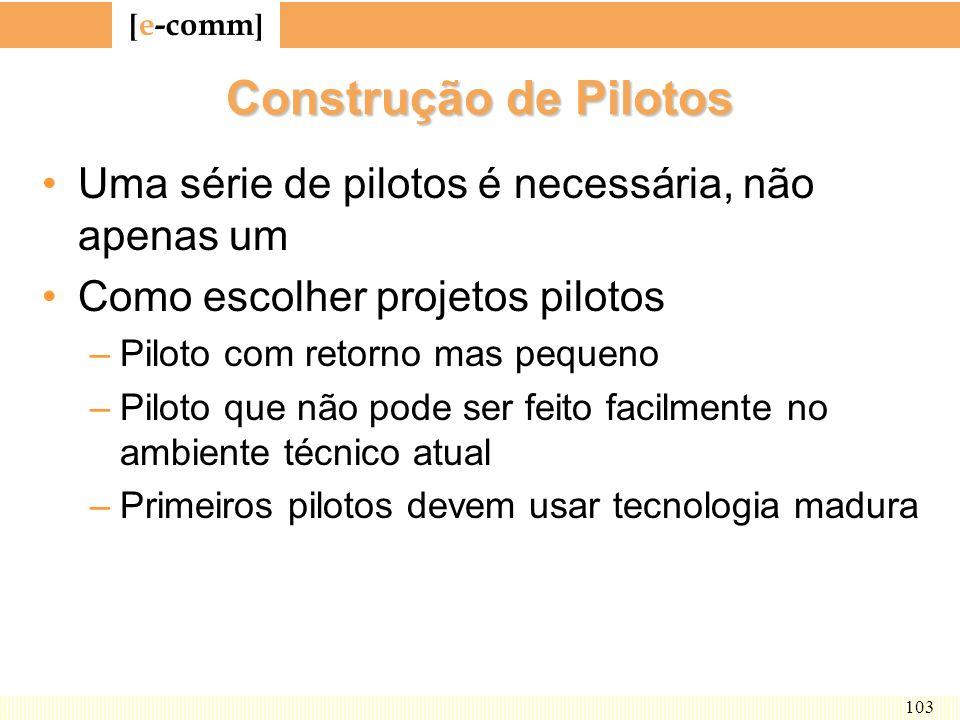 Construção de Pilotos Uma série de pilotos é necessária, não apenas um