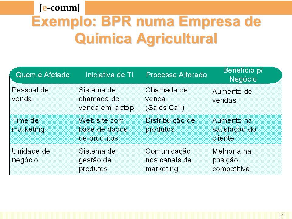 Exemplo: BPR numa Empresa de Química Agricultural