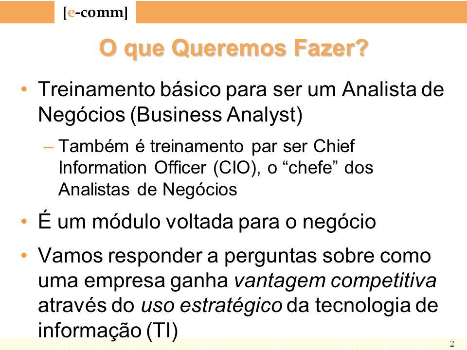 O que Queremos Fazer Treinamento básico para ser um Analista de Negócios (Business Analyst)