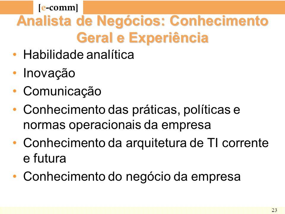 Analista de Negócios: Conhecimento Geral e Experiência