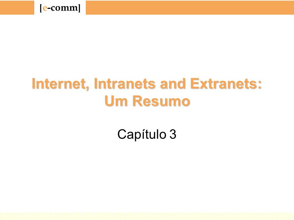 Internet, Intranets and Extranets: Um Resumo