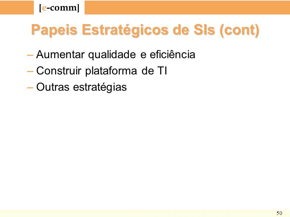 Papeis Estratégicos de SIs (cont)