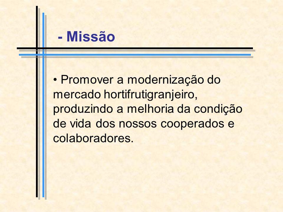 - Missão Promover a modernização do mercado hortifrutigranjeiro, produzindo a melhoria da condição de vida dos nossos cooperados e colaboradores.