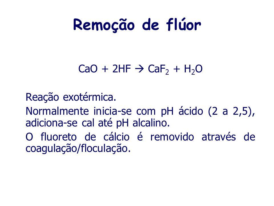 Remoção de flúor CaO + 2HF  CaF2 + H2O Reação exotérmica.