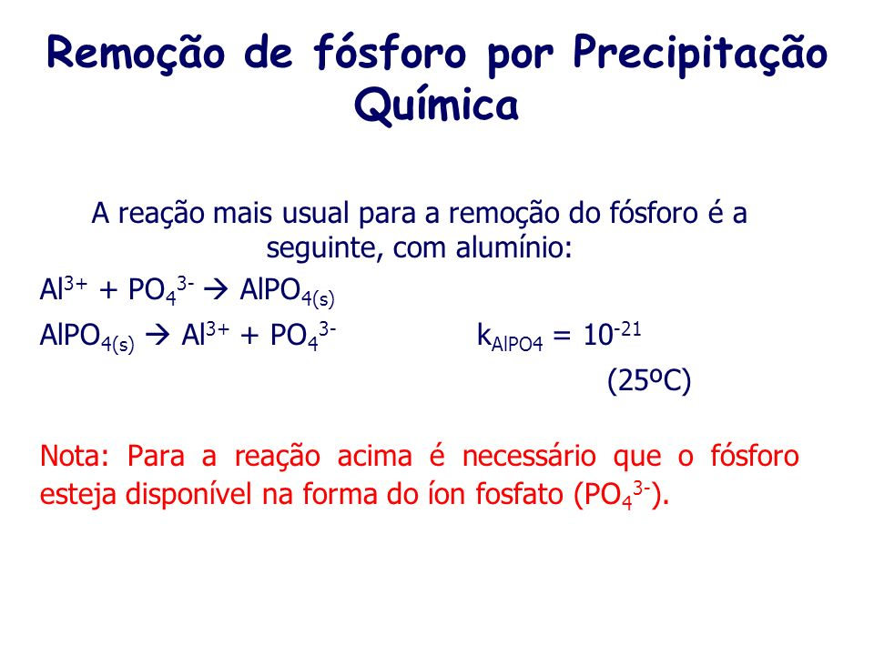 Remoção de fósforo por Precipitação Química