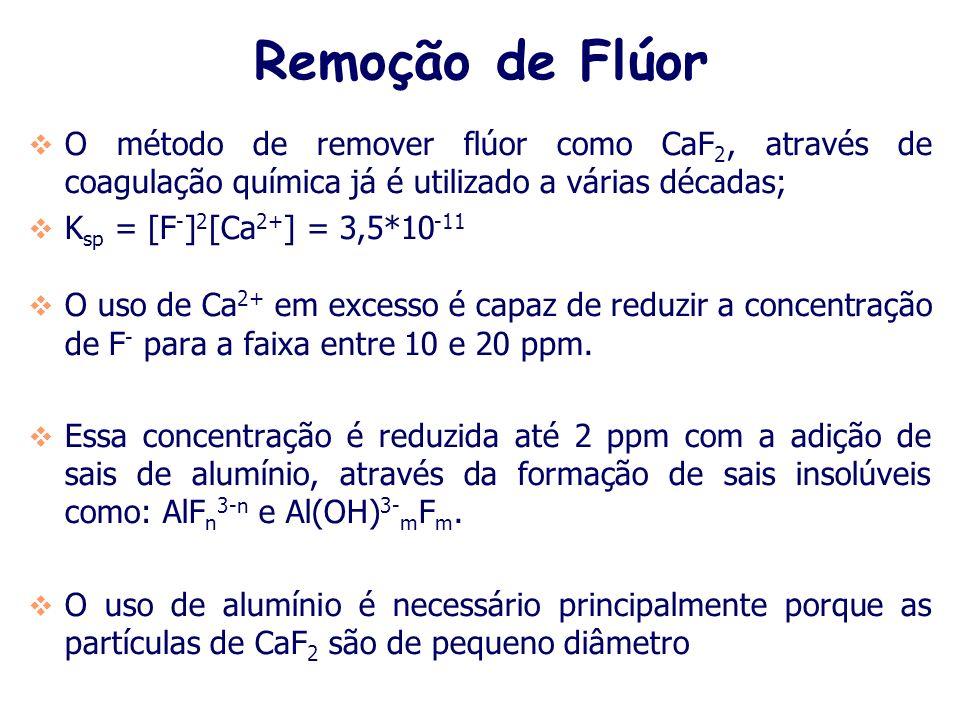 Remoção de Flúor O método de remover flúor como CaF2, através de coagulação química já é utilizado a várias décadas;