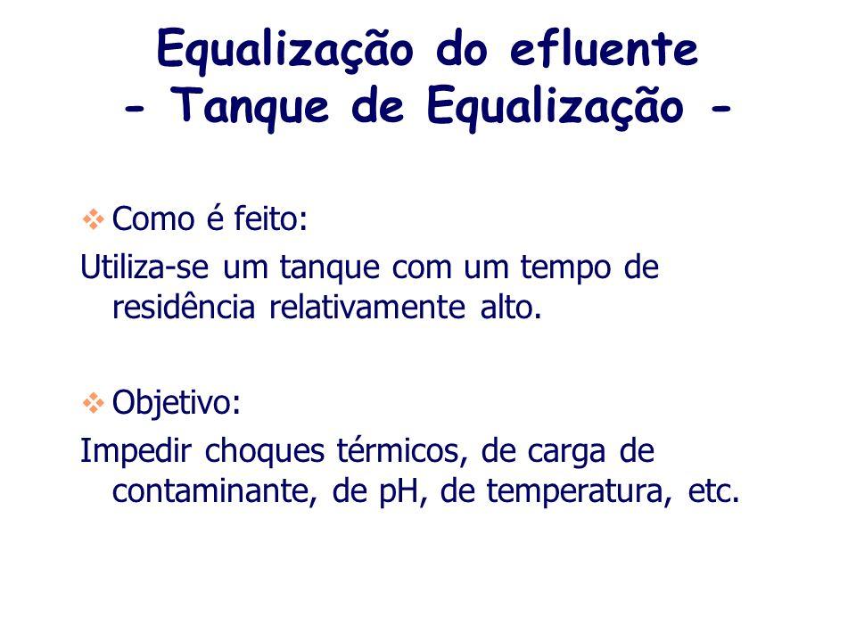 Equalização do efluente - Tanque de Equalização -