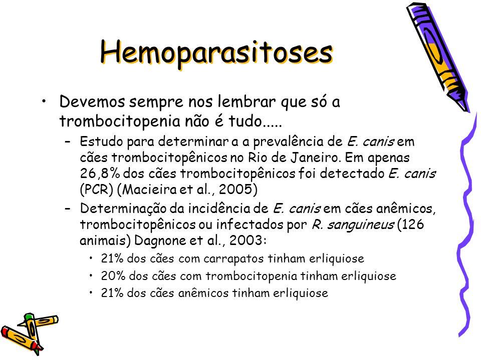 Hemoparasitoses Devemos sempre nos lembrar que só a trombocitopenia não é tudo.....