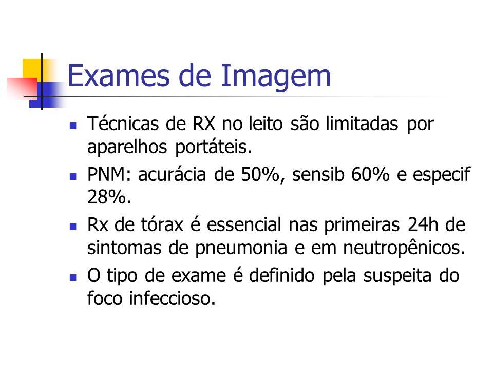 Exames de Imagem Técnicas de RX no leito são limitadas por aparelhos portáteis. PNM: acurácia de 50%, sensib 60% e especif 28%.