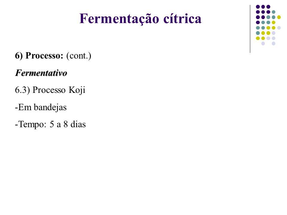 Fermentação cítrica 6) Processo: (cont.) Fermentativo