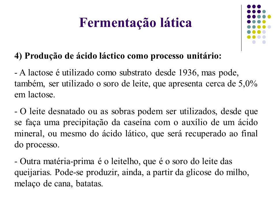 Fermentação lática 4) Produção de ácido láctico como processo unitário: