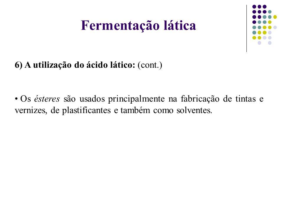 Fermentação lática 6) A utilização do ácido lático: (cont.)