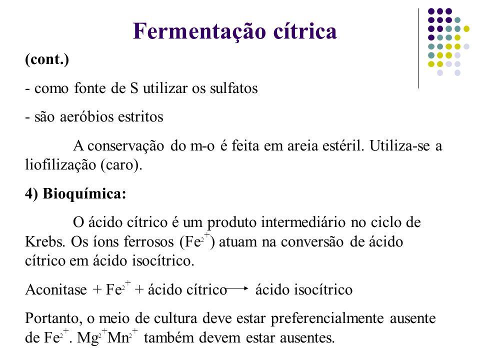 Fermentação cítrica (cont.) como fonte de S utilizar os sulfatos