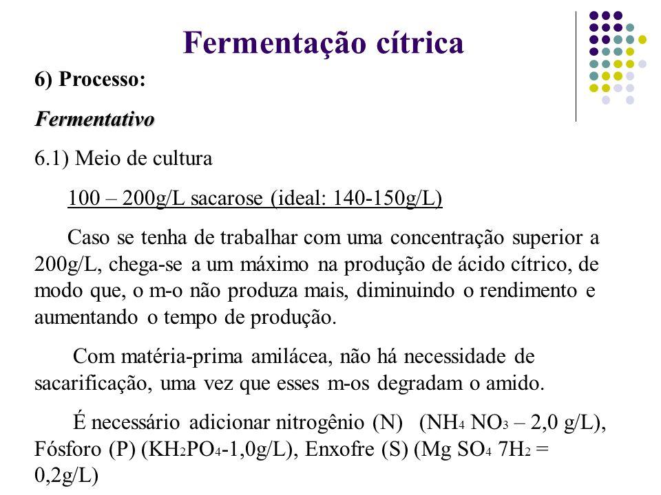 Fermentação cítrica 6) Processo: Fermentativo 6.1) Meio de cultura